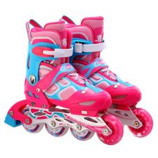 【美洲狮COUGAR】MZS835LSG溜冰鞋儿童闪光轮滑鞋男女滑冰旱冰鞋欧盟品质  水立方粉青