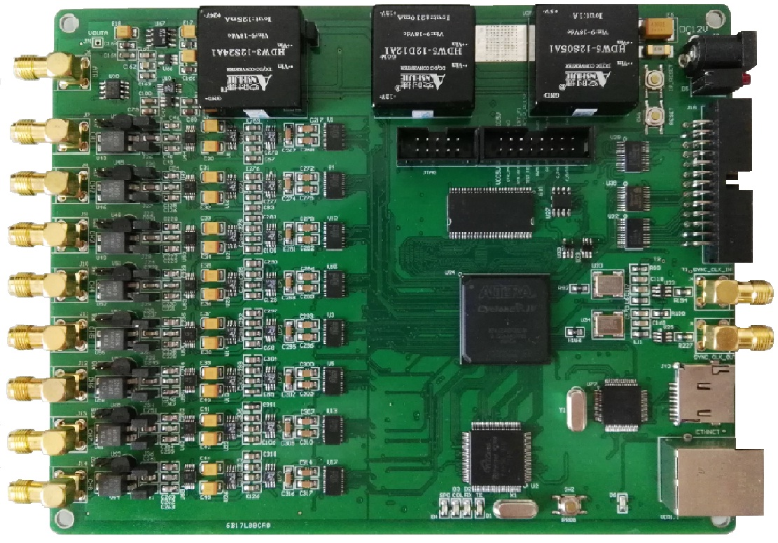 高精度以太網GPS同步數據采集卡 8路32位4KS 4路DA 8路DI 8路DO